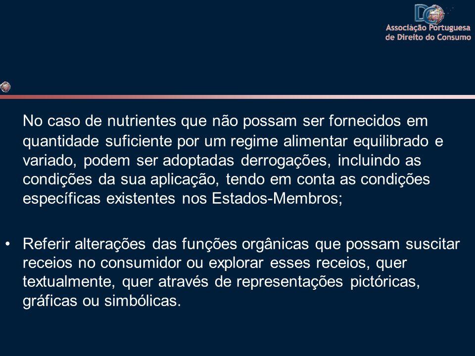 No caso de nutrientes que não possam ser fornecidos em quantidade suficiente por um regime alimentar equilibrado e variado, podem ser adoptadas derrogações, incluindo as condições da sua aplicação, tendo em conta as condições específicas existentes nos Estados-Membros;