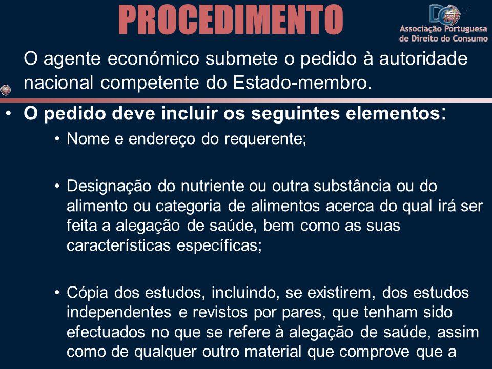 PROCEDIMENTO O agente económico submete o pedido à autoridade nacional competente do Estado-membro.