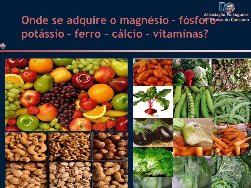Onde se adquire o magnésio – fósforo – potássio – ferro – cálcio – vitaminas