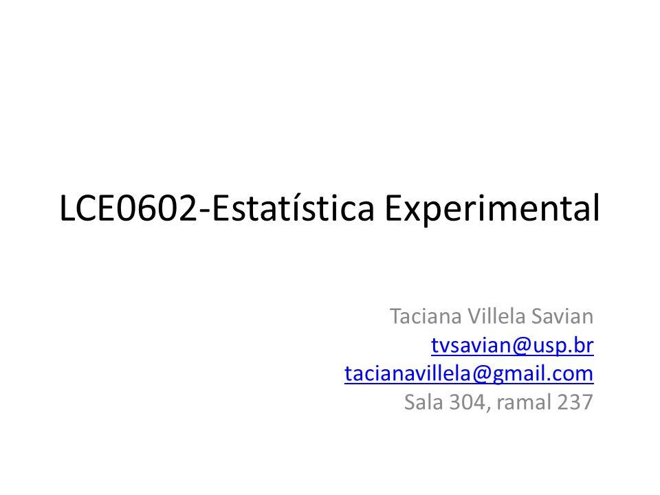 LCE0602-Estatística Experimental