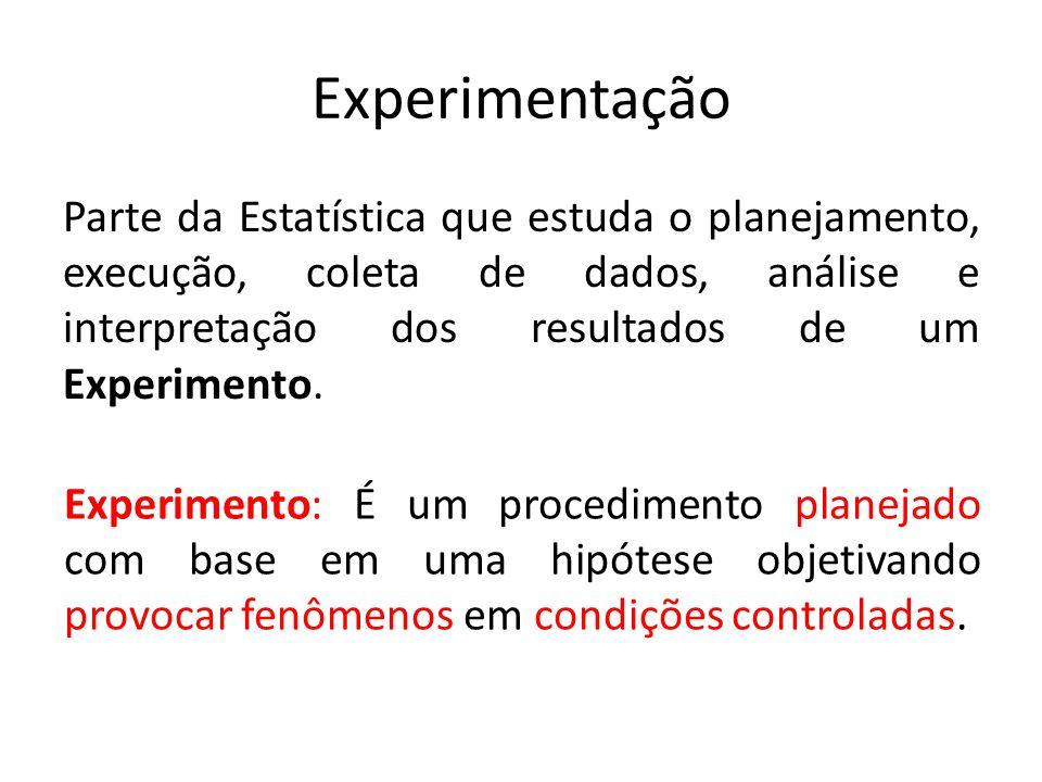 Experimentação Parte da Estatística que estuda o planejamento, execução, coleta de dados, análise e interpretação dos resultados de um Experimento.