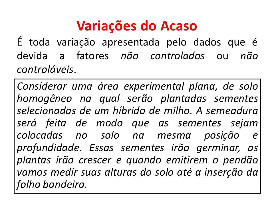 Variações do Acaso É toda variação apresentada pelo dados que é devida a fatores não controlados ou não controláveis.