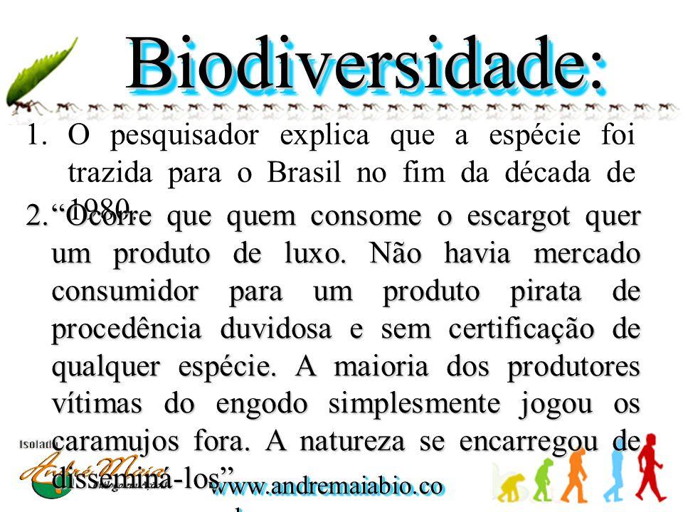 Biodiversidade: O pesquisador explica que a espécie foi trazida para o Brasil no fim da década de 1980.