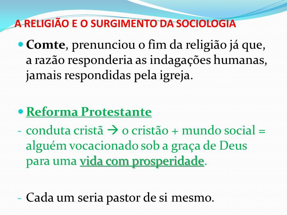 A RELIGIÃO E O SURGIMENTO DA SOCIOLOGIA