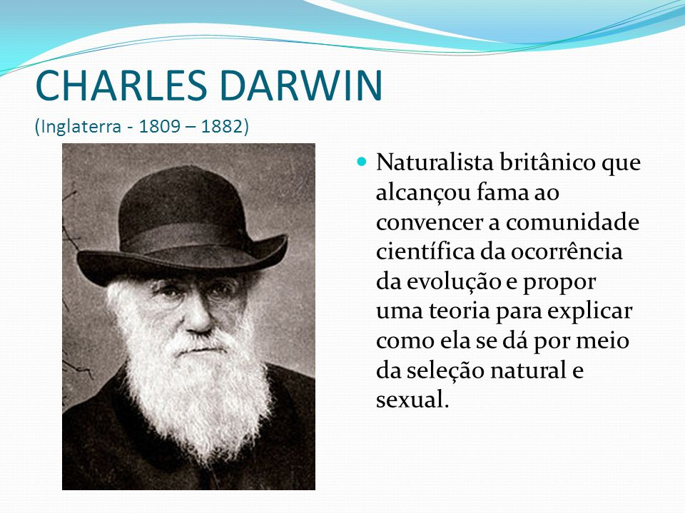 CHARLES DARWIN (Inglaterra - 1809 – 1882)