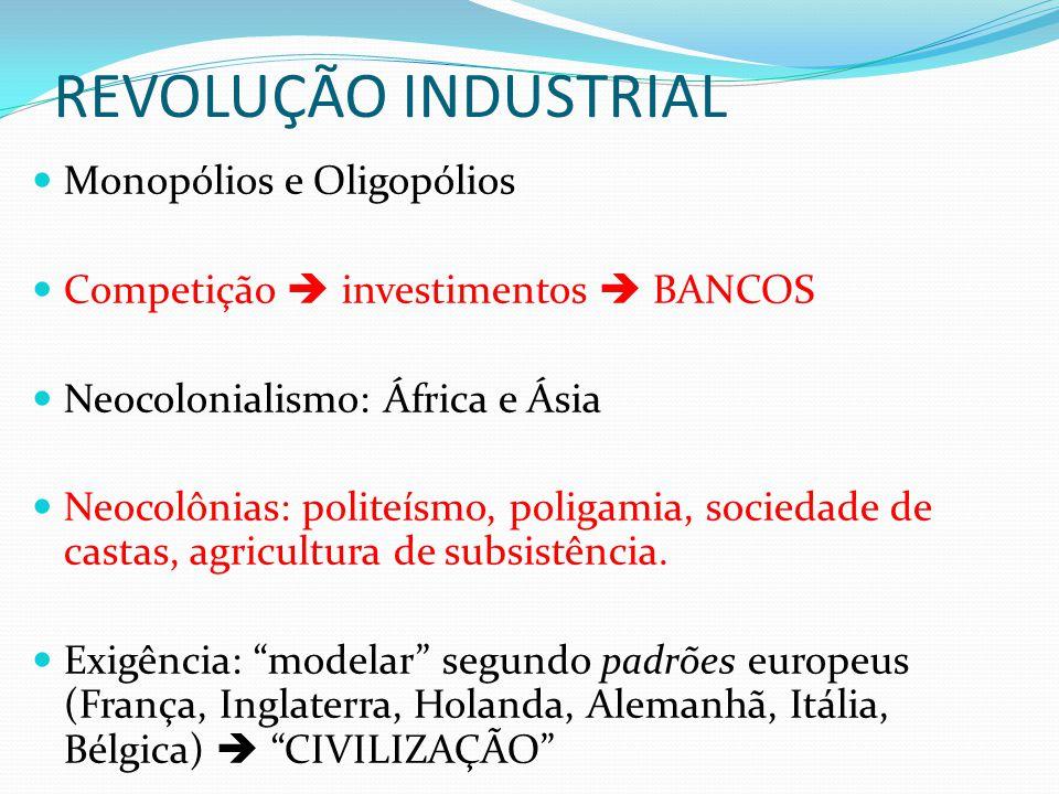 REVOLUÇÃO INDUSTRIAL Monopólios e Oligopólios
