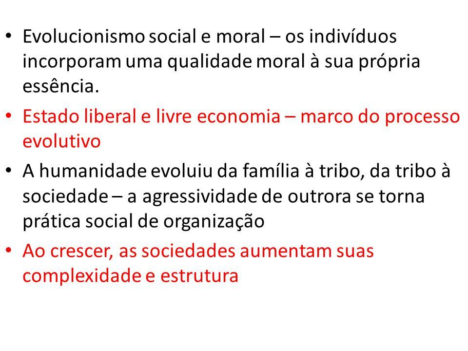Evolucionismo social e moral – os indivíduos incorporam uma qualidade moral à sua própria essência.