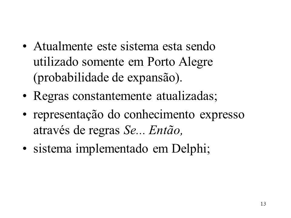 Atualmente este sistema esta sendo utilizado somente em Porto Alegre (probabilidade de expansão).