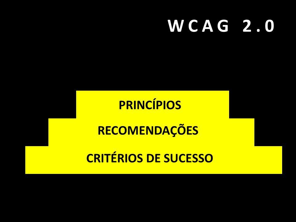 WCAG 2.0 PRINCÍPIOS RECOMENDAÇÕES CRITÉRIOS DE SUCESSO PRINCÍPIOS