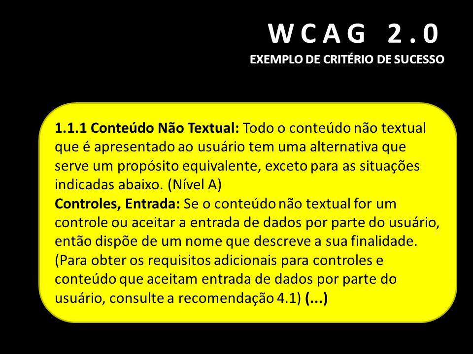 WCAG 2.0 EXEMPLO DE CRITÉRIO DE SUCESSO