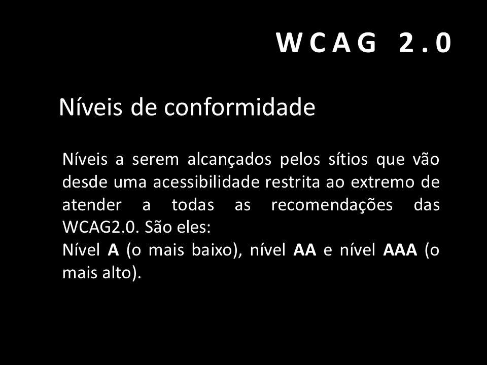 WCAG 2.0 Níveis de conformidade