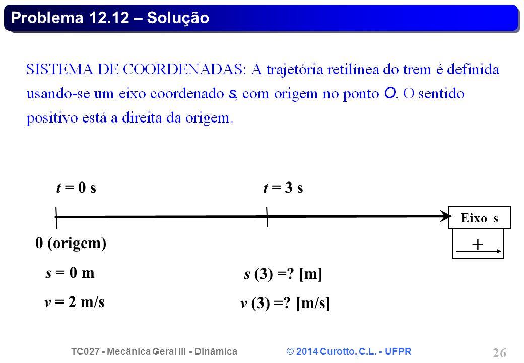 + Problema 12.12 – Solução t = 0 s t = 3 s 0 (origem) s = 0 m