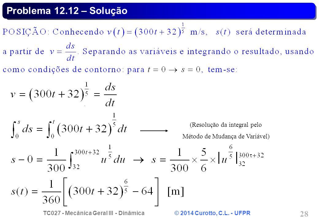 Problema 12.12 – Solução (Resolução da integral pelo