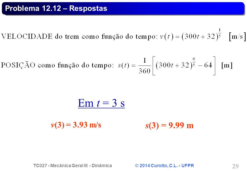 Problema 12.12 – Respostas Em t = 3 s v(3) = 3.93 m/s s(3) = 9.99 m