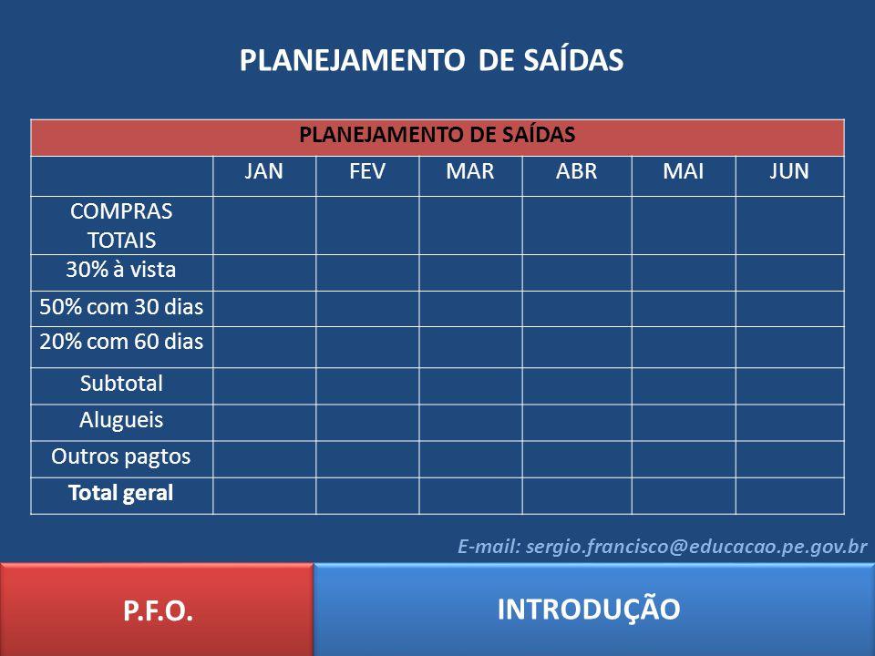 PLANEJAMENTO DE SAÍDAS