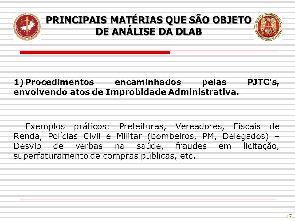 PRINCIPAIS MATÉRIAS QUE SÃO OBJETO DE ANÁLISE DA DLAB