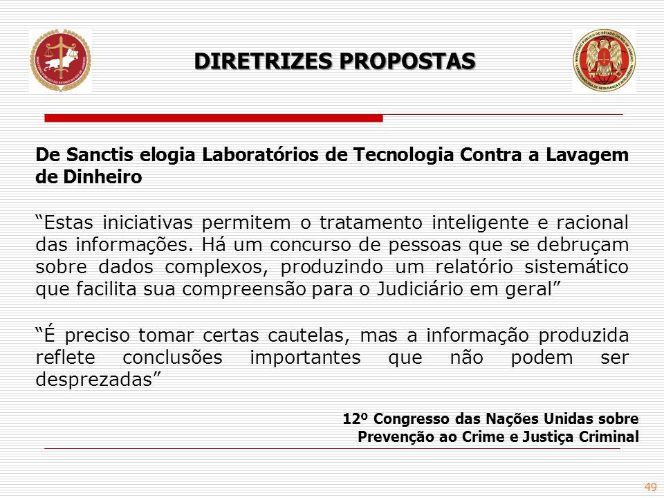 DIRETRIZES PROPOSTAS De Sanctis elogia Laboratórios de Tecnologia Contra a Lavagem de Dinheiro.
