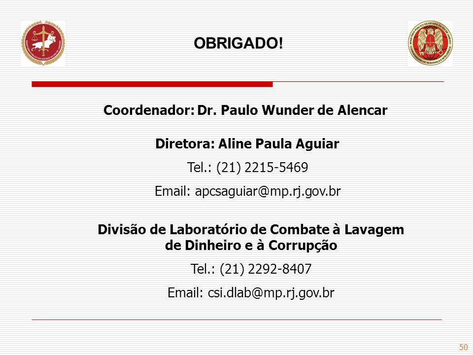 OBRIGADO! Coordenador: Dr. Paulo Wunder de Alencar