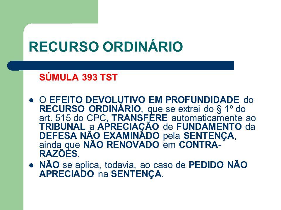 RECURSO ORDINÁRIO SÚMULA 393 TST