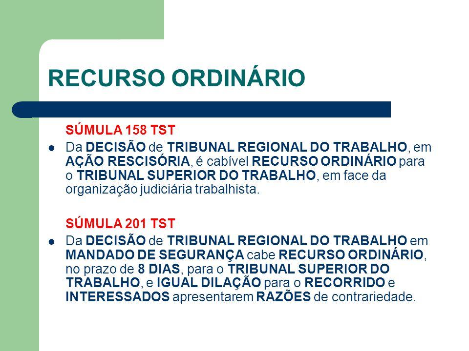 RECURSO ORDINÁRIO SÚMULA 158 TST