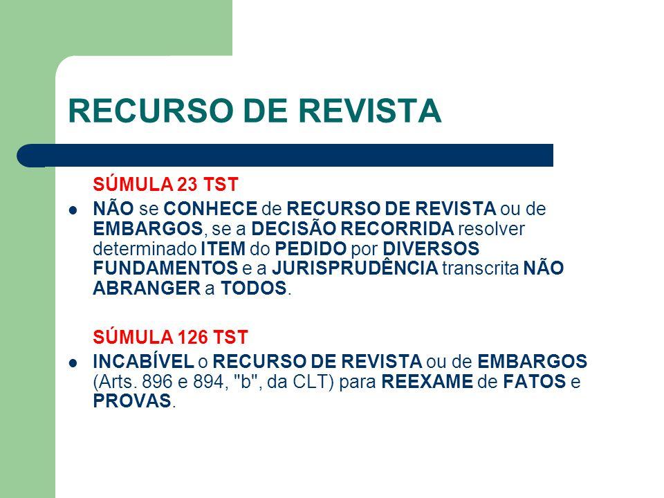 RECURSO DE REVISTA SÚMULA 23 TST
