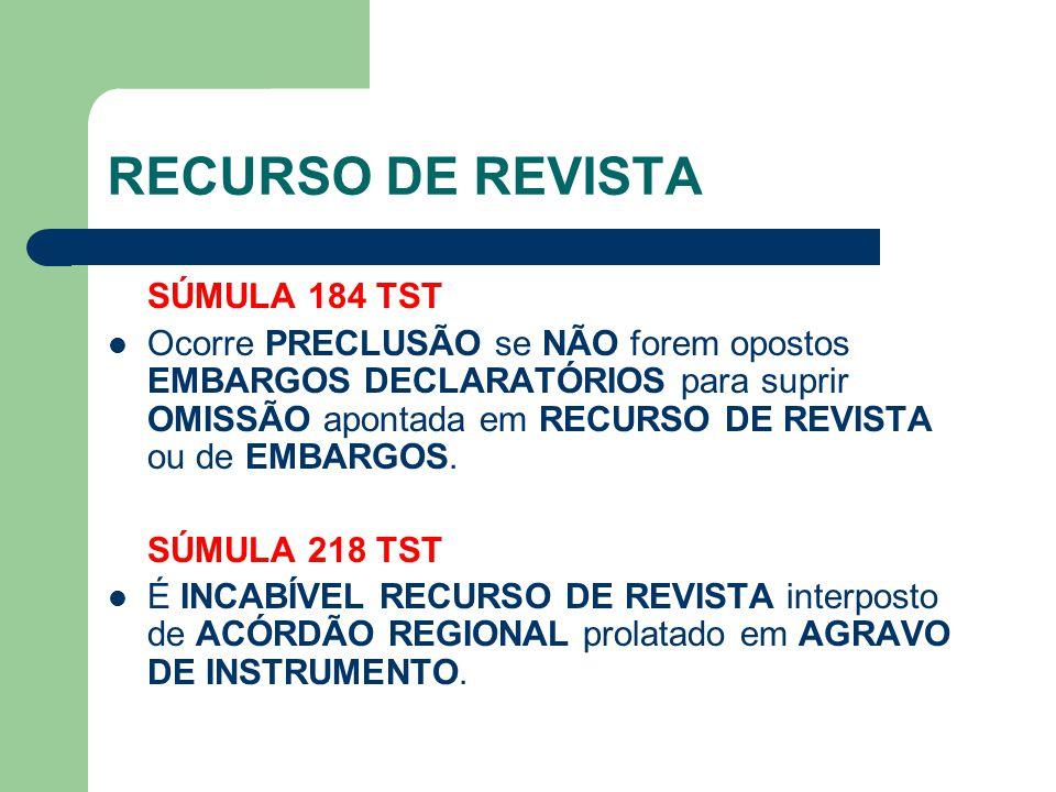 RECURSO DE REVISTA SÚMULA 184 TST