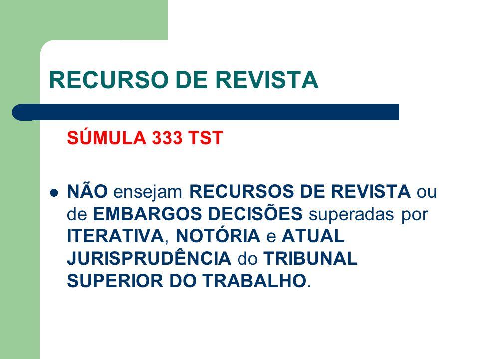 RECURSO DE REVISTA SÚMULA 333 TST