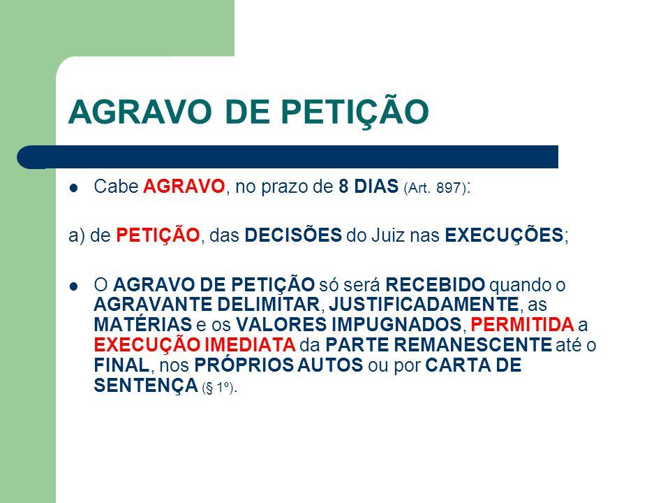 AGRAVO DE PETIÇÃO Cabe AGRAVO, no prazo de 8 DIAS (Art. 897):