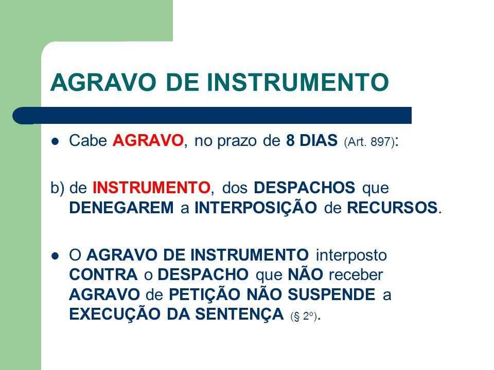 AGRAVO DE INSTRUMENTO Cabe AGRAVO, no prazo de 8 DIAS (Art. 897):