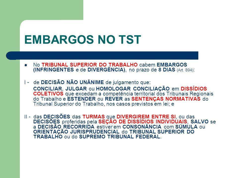 EMBARGOS NO TST No TRIBUNAL SUPERIOR DO TRABALHO cabem EMBARGOS (INFRINGENTES e de DIVERGÊNCIA), no prazo de 8 DIAS (Art. 894):