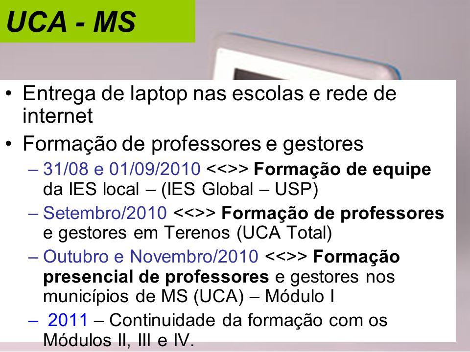 UCA - MS Entrega de laptop nas escolas e rede de internet
