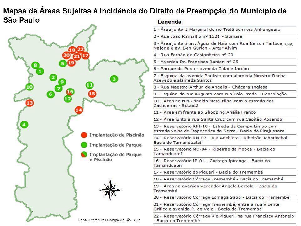 Mapas de Áreas Sujeitas à Incidência do Direito de Preempção do Município de São Paulo