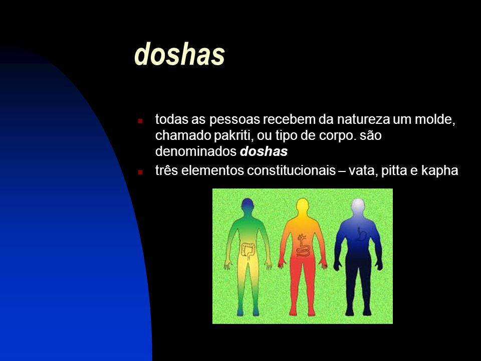 doshas todas as pessoas recebem da natureza um molde, chamado pakriti, ou tipo de corpo. são denominados doshas.