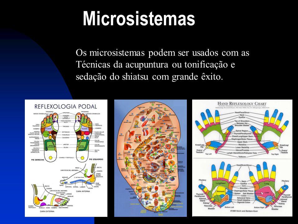 Microsistemas Os microsistemas podem ser usados com as Técnicas da acupuntura ou tonificação e sedação do shiatsu com grande êxito.