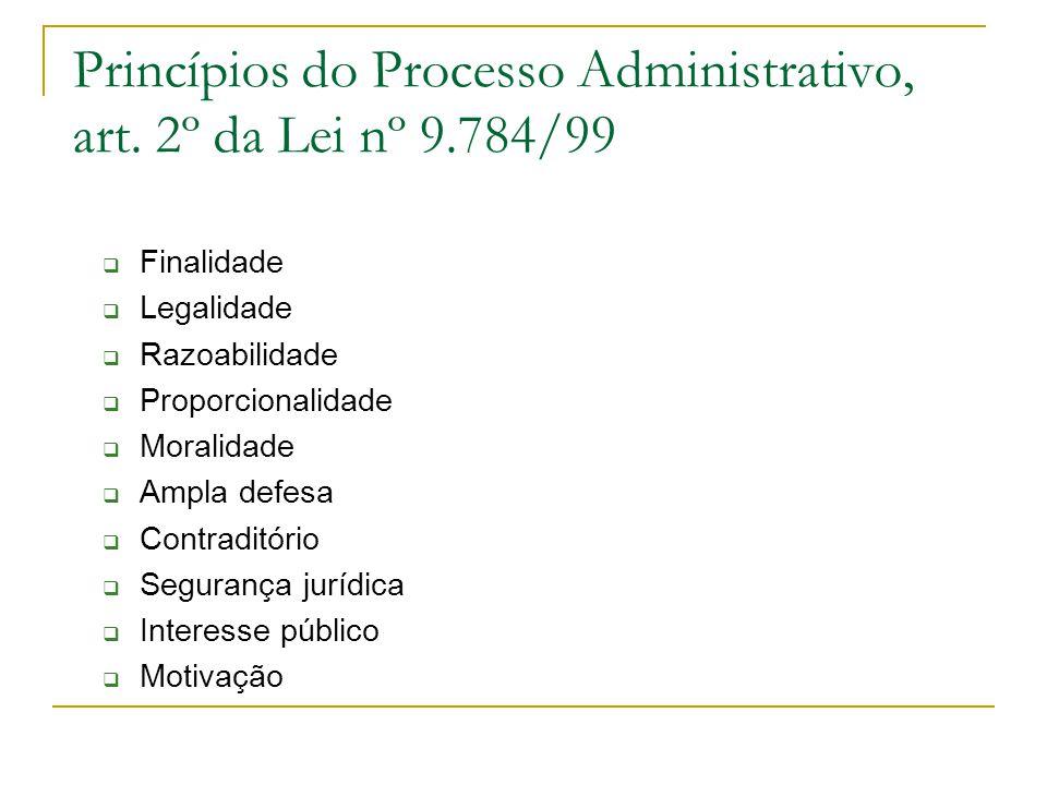 Princípios do Processo Administrativo, art. 2º da Lei nº 9.784/99