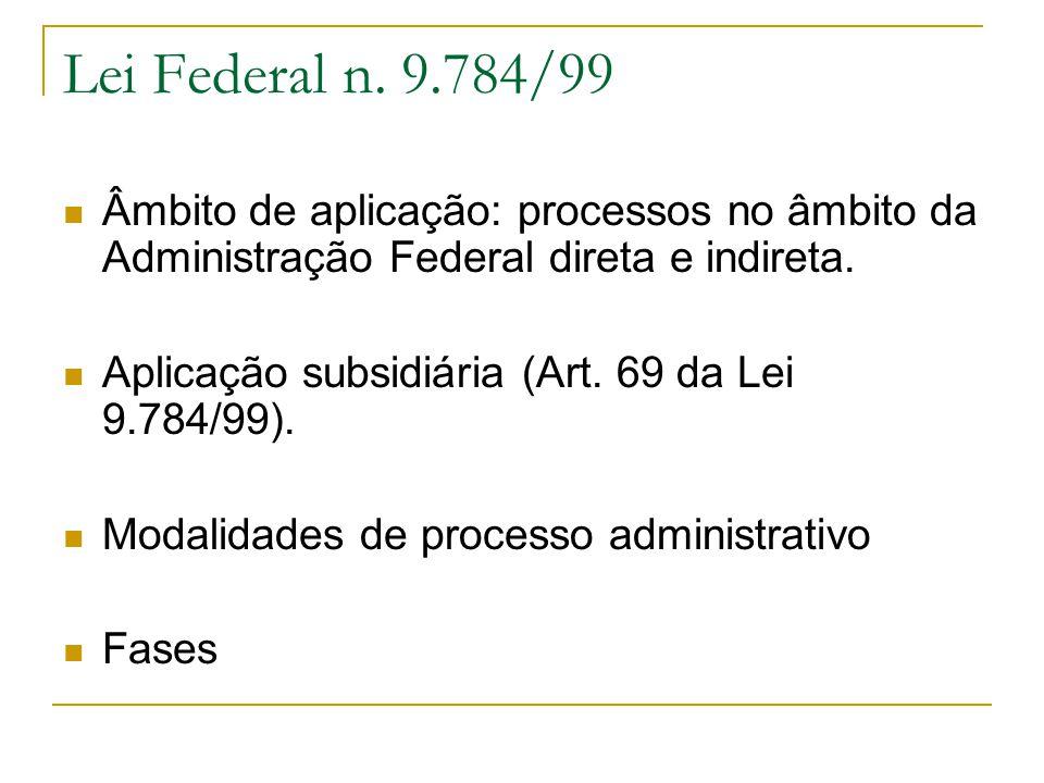 Lei Federal n. 9.784/99 Âmbito de aplicação: processos no âmbito da Administração Federal direta e indireta.