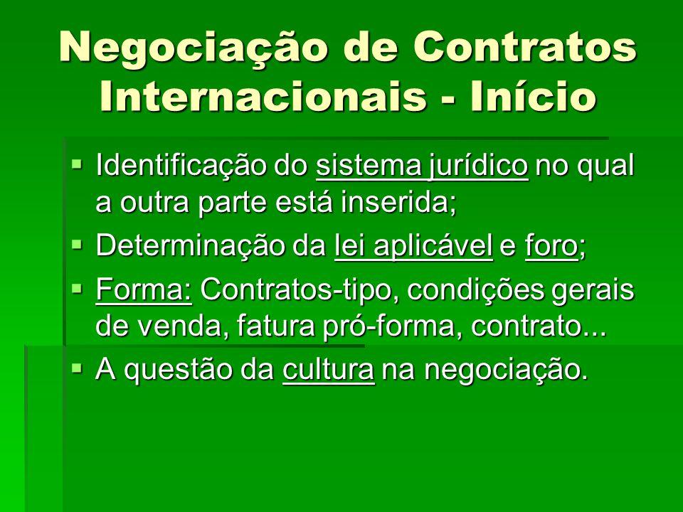 Negociação de Contratos Internacionais - Início