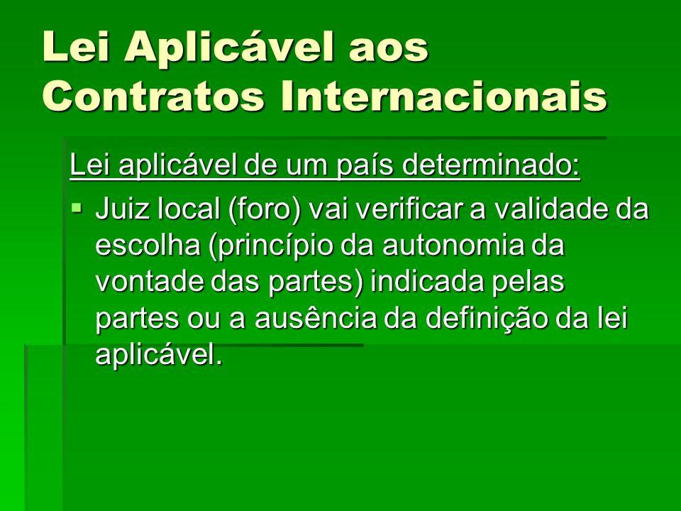 Lei Aplicável aos Contratos Internacionais