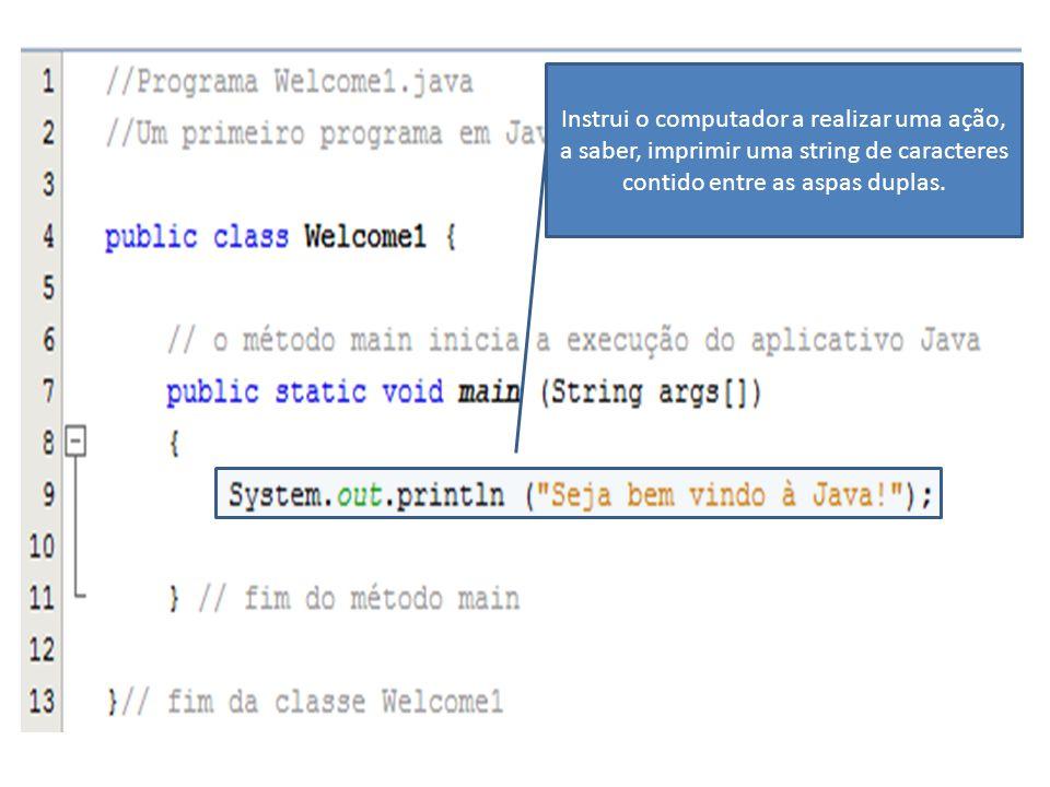 Instrui o computador a realizar uma ação, a saber, imprimir uma string de caracteres contido entre as aspas duplas.
