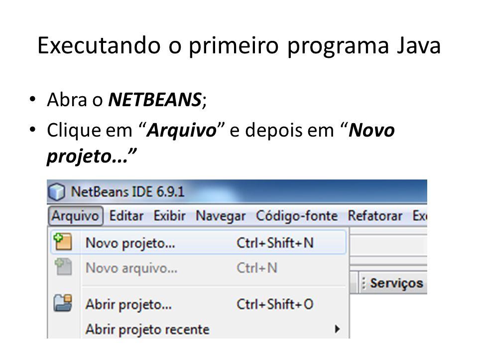 Executando o primeiro programa Java