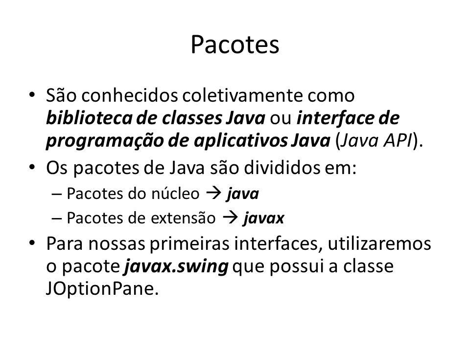 Pacotes São conhecidos coletivamente como biblioteca de classes Java ou interface de programação de aplicativos Java (Java API).