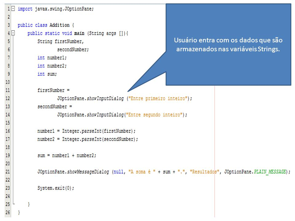 Usuário entra com os dados que são armazenados nas variáveis Strings.