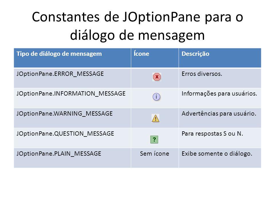 Constantes de JOptionPane para o diálogo de mensagem