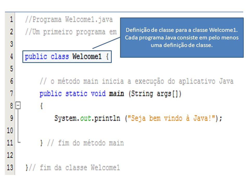 Definição de classe para a classe Welcome1