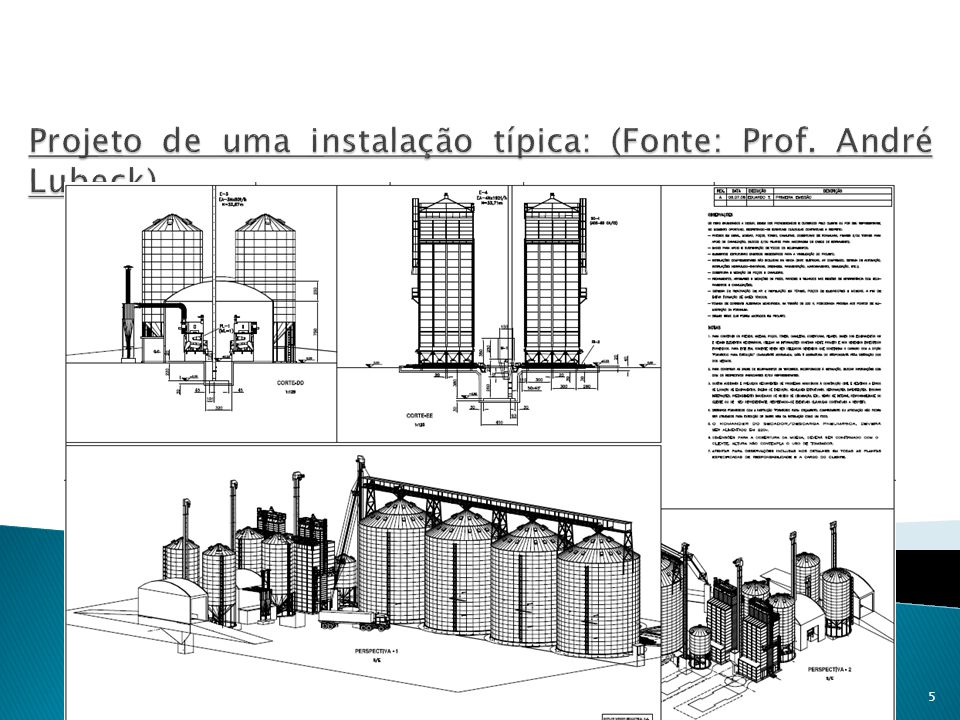 Projeto de uma instalação típica: (Fonte: Prof. André Lubeck)