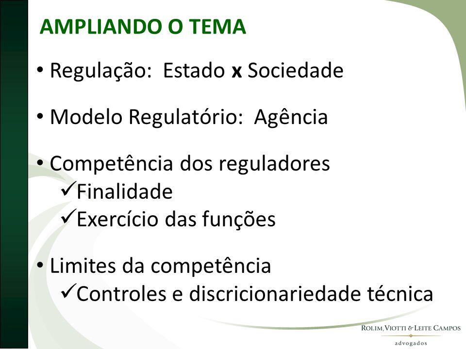AMPLIANDO O TEMA Regulação: Estado x Sociedade. Modelo Regulatório: Agência. Competência dos reguladores.
