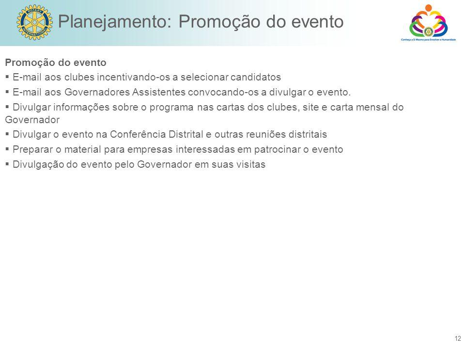 Planejamento: Promoção do evento
