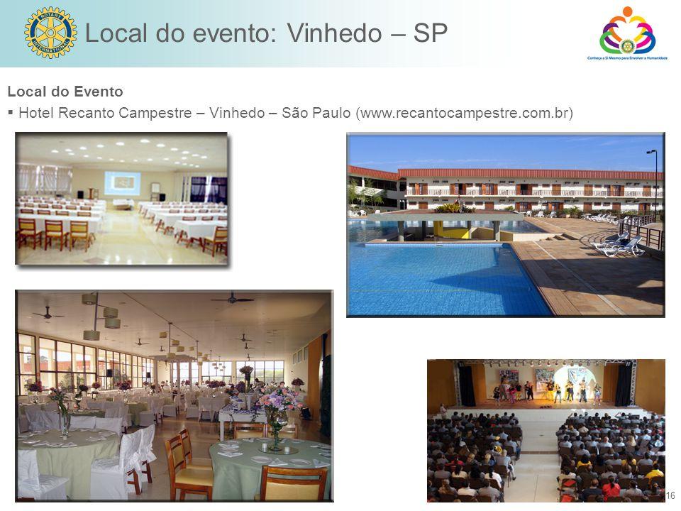 Local do evento: Vinhedo – SP