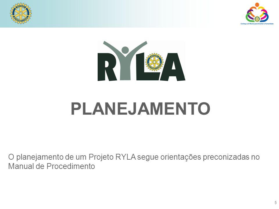 PLANEJAMENTO O planejamento de um Projeto RYLA segue orientações preconizadas no Manual de Procedimento.