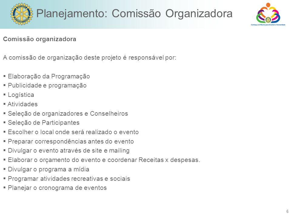 Planejamento: Comissão Organizadora